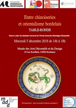 Entre chinoiseries et orientalisme bordelais, table ronde, le 5 décembre 2018 à Bordeaux